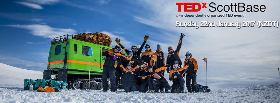 Die TEDxScottBase Veranstaltung hat das Ziel wegweisende Ideen zu verbreiten von der Antarktis in die ganze Welt. Vor Ort kann leider nur teilnehmen, wer sich bereits in der Antarktis befindet, aber Moderatoren auf der ganzen Welt werden zu der Live-Übertragung am 22 Januar 2017 einladen.
