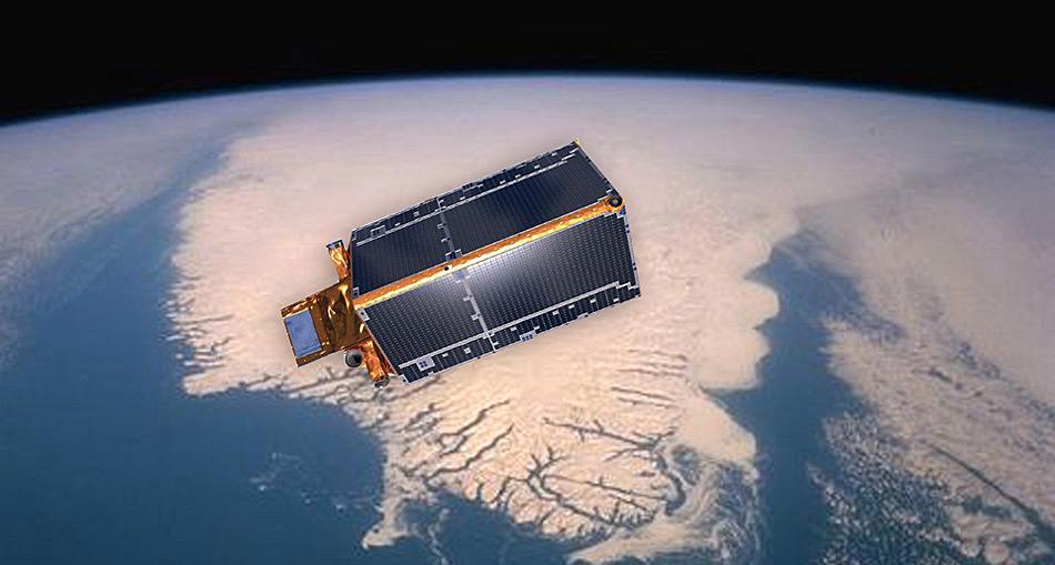 Der Satellit «CryoSat-2» über Grönland. Gestartet wurde der Satellit am 8. April 2010. Die Mission war zunächst auf drei Jahre ausgelegt, sie wurde aber wegen des guten Zustands des Satelliten und der hohen Qualität der gewonnen Daten bis 2017Vorlage:Zukunft/In 3 Jahren verlängert.
