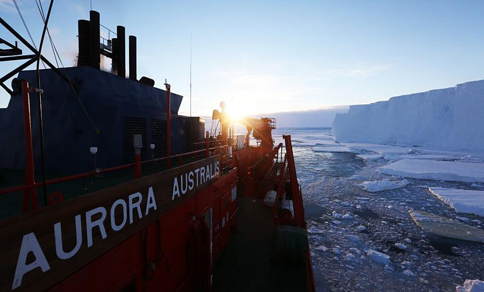 Die Aurora Australis vor dem Tottengletscher