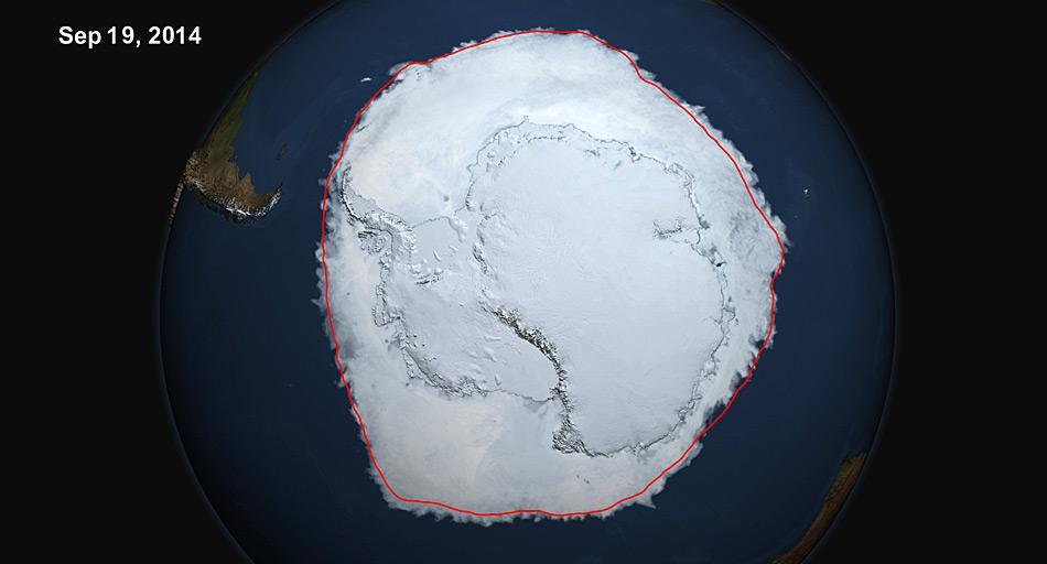 Am 19. September 2014 übertraf die 5-Tages-Durchschnittsmenge der antarktischen Meereisausdehnung die 20 Millionen Quadratkilometer-Marke. Dies zum ersten Mal seit 1979, gemäss dem US-Nationalen Schnee- und Eisdatenzentrums. Die rote Linie zeigt die Durchschnittsausbreitung zwischen 1979 – 2014. Bild: NASA Scientific Visualization Studie/Cindy Starr