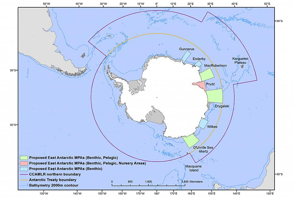 Die antarktischen Meeresschutzgebiete wurden an jedem Treffen der CCAMLR verkleinert und angepasst. Trotzdem wurden sie nicht angenommen, vor allem durch das Veto von China, der Ukraine und Russland, die weitere Änderungen verlangt hatten. Karte: AOA