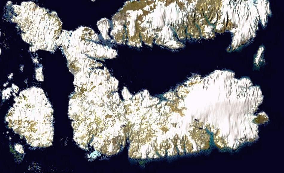Die Insel Devon liegt am Eingang zur Nordwestpassage im Norden von Nunavut. Die Eiskappe, die rund ein Drittel der Insel bedeckt und bis zu über 800 Meter mächtig ist, liegt im Osten der Insel. Bild: NASA