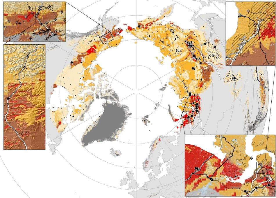 Die Karte zeigt die verschiedenen Gefährdungsgrade für Infrastrukturen von leicht (hellgelb) bis Hotspot (rot). Einige wichtige Regionen sind besonders hervorgehoben. Bild: Hjort et al.