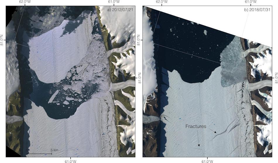 Die Satellitenaufnahmen zeigen links den Eisberg 2012, rechts die neuen Risse in der nach vorne geschobenen Gletscherzunge. Bild: NASA / Sentinel-2