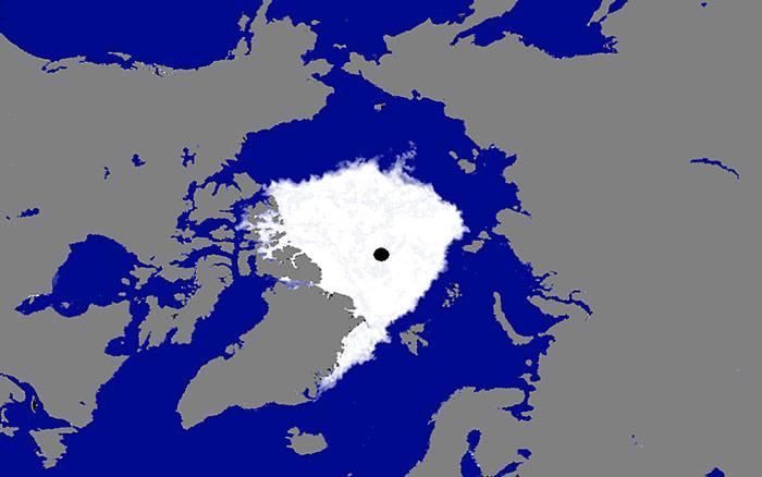 Die Eiskarte vom 5. Oktober 2012 zeigt bildlich wie es um das Eis in der Arktis steht.