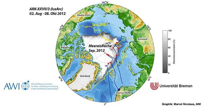 Etwa 12.000 Kilometer hat Polarstern auf der Expedition von Tromsø durch die Arktis bis nach Bremerhaven zurückgelegt. Die Karte zeigt die Ausdehnung des Meereises (in weiss und grau) im September 2012. Nur noch 3,41 Millionen Quadratkilometer waren eisbedeckt - der geringste Wert seit Beginn der Satellitenaufzeichnungen im Jahr 1973. In gelb ist das bisherige Meereisminimum des Jahres 2007 eingezeichnet. 2012 war die Arktis von 18% weniger Eis bedeckt.