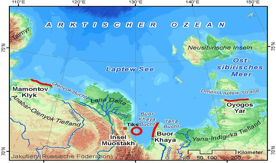Die Markierungen zeigen die vier weiträumig voneinander entfernten Küstenabschnitte, die in der Region um die Laptew See in Ostsibirien untersucht wurden Abbildung: Frank Günther, AWI