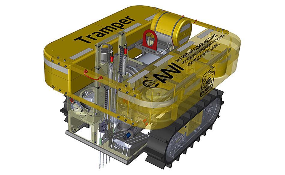 CAD-Entwurfsskizze des AWI-Tiefseeroboters TRAMPER, entwickelt im ROBEX-Projekt. Skizze: Johannes Lemburg, AWI