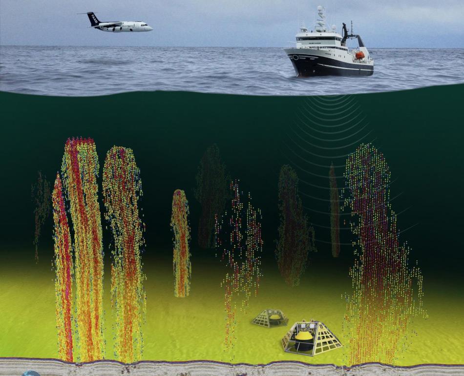 Die Messungen wurden gleichzeitig von Schiff und Flugzeug aus und am Meeresboden durchgeführt. Dies ermöglichte eine komplette Verfolgung des Methans vom Meeresboden bis in die Atmosphäre hinauf. Bild: Torge Gryta, CAGE