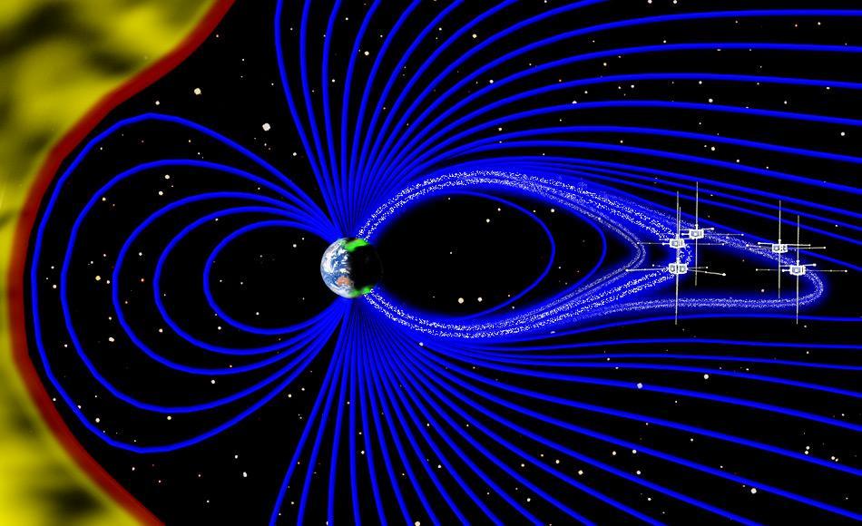 Bild eines Querschnitts der Magnetosphäre, mit dem Sonnenwind auf der linken Seite in Gelb und den magnetischen Feldlinien ausgehend von der Erde in Blau. In diesem instabilen Umfeld, strömen Elektronen im erdnahen Weltraum, als weisse Punkte dargestellt, schnell nach unten den magnetischen Feldlinien entlang in Richtung Pole und bilden die Auroren. Bild: Emmanuel Masongsong / UCLA EPSS / NASA