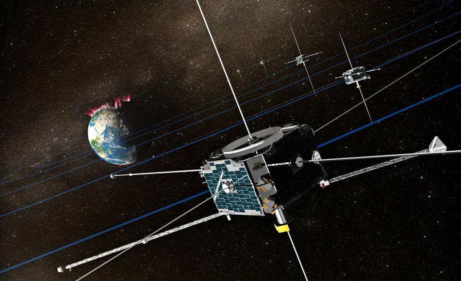 Die THEMIS-Mission war ursprünglich eine Anordnung von fünf NASA-Satelliten (THEMIS A bis THEMIS E) um Energieausstösse der Erdmagnetosphäre. sogenannte Teilstürme (magnetische Phänomene, die Auroren in der Nähe der Pole verstärken) zu studieren.  Der Name der Mission ist ein Akronym in Anspielung auf den Titanen Themis.  Bild: NASA