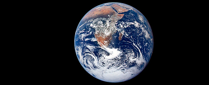 Die erste als Blue Marble bezeichnete Aufnahme der Apollo 17 Crew vom 7. Dezember 1972