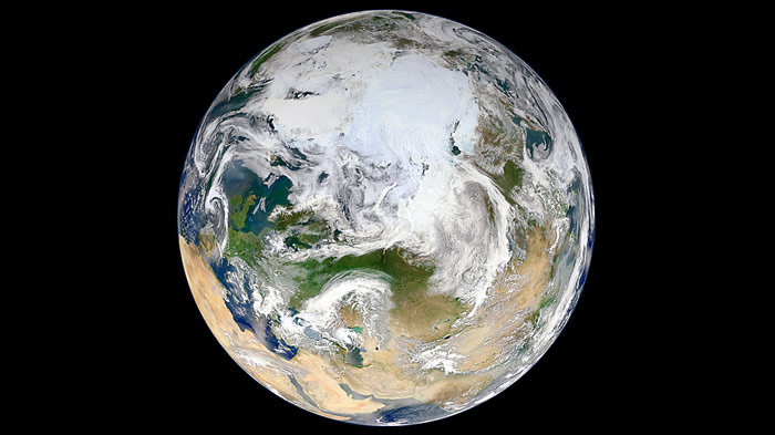 Aus 824 Kilometer Höhe und 15 Erdumrundungen entstand erstmals ein komplettes Bild der Nordpolregion.