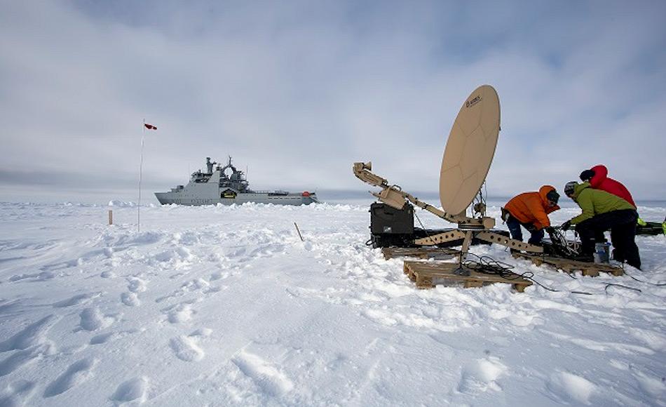 Um die Signale der Satelliten aufzufangen, musste eine Antenne aufgestellt werden, was keine leichte Aufgabe auf einer sich bewegenden Unterlage darstellt.